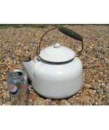 Old White Enamelware Coffee tea kettle boiler pot Vintage wood handle bz - $64.98