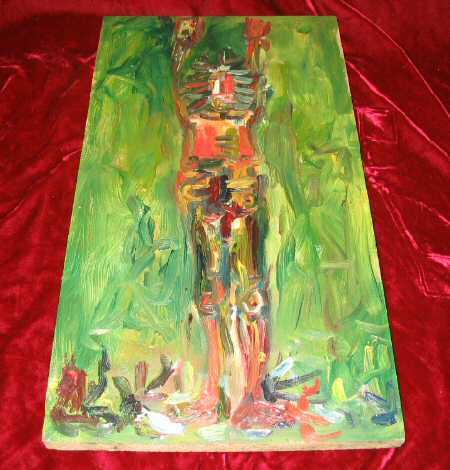Original Abstract Oil Painting Wood Human Nyugen E. Smith