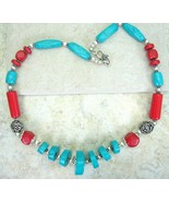 Traditional Tibetan Turquoise Disks and Red Coral Tubes Silver Tone Neck... - $90.21