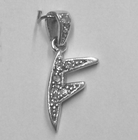"Sterling Silver & Cubic Zirconia Initial Pendant ""F"""
