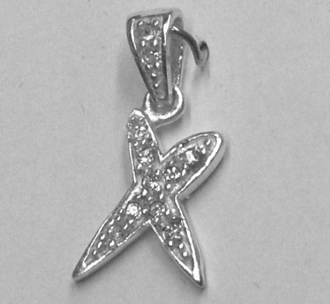 "Sterling Silver & Cubic Zirconia Initial Pendant ""X"""