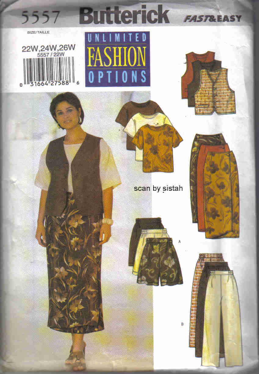 Butterick 5557 Pattern 22W 24W 26W skirt pants shorts top career casual outfit