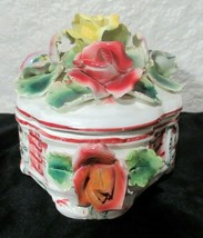 M&R Capodimonte Dish Hand Painted Floral Made in Italy - $23.96