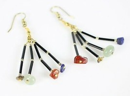 Vintage Tiered Dangle Stone Tigers Eye Quartz Fish Hook Costume Jewelry ... - $16.49
