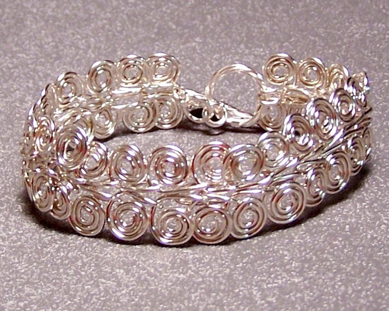 Primary image for Sterling Silver Spiral Link Bracelet 9 IN Artisan MADE IN USA