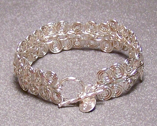 Sterling Silver Spiral Link Bracelet 9 IN Artisan MADE IN USA