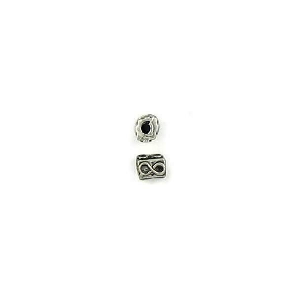 2pcs. Eternity Rectangular Fine Pewter Bead - 5x4x4mm; Hole 1mm