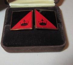 Vintage 1960s/70s CUFFLINKS Black & Red Enamel Crown Cosplay Costume Rol... - $29.99