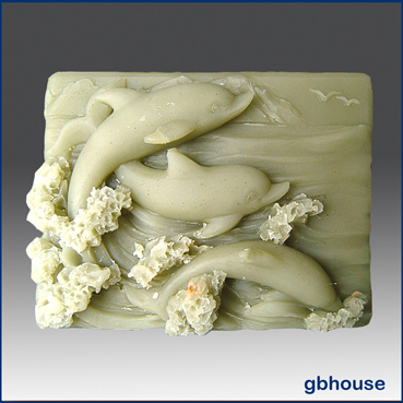 Silicone Soap Mold – 3 Dolphins in the Waves