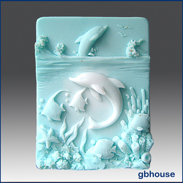 Dolphins at Play – 2D Silicone Soap Mold