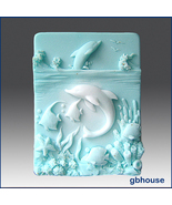 Dolphins at Play – 2D Silicone Soap Mold - $26.00