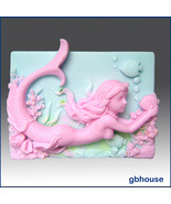 Mermaid Wendy with Fish – 2D Silicone Soap Mold - $28.00