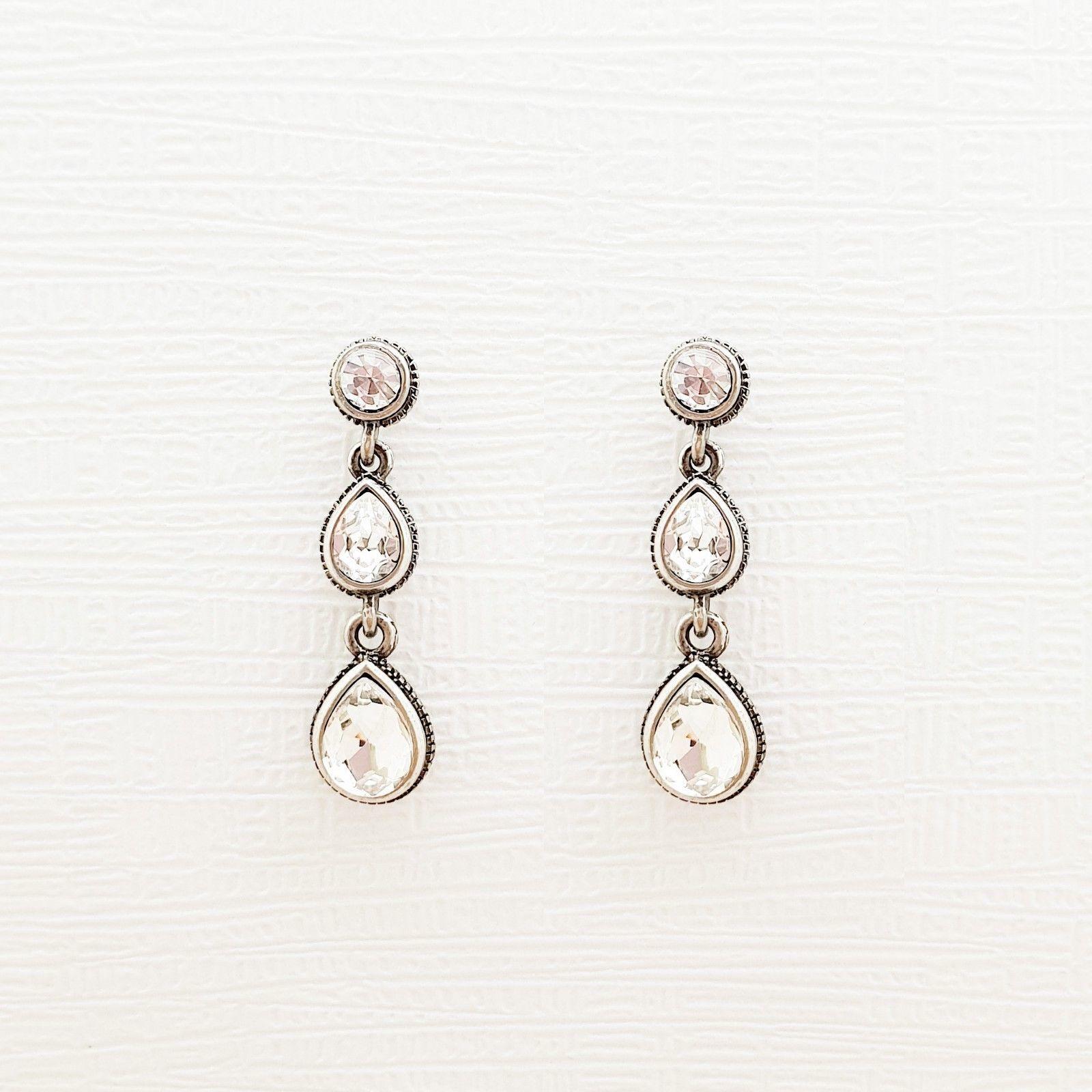 Tiered Round Water Drop Teardrop Shape Made With Swarovski Stone Dangle Earrings image 3