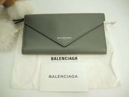 BALENCIAGA Authentic Calfskin Leather Continental Long Wallet Gray Used - $544.99
