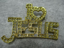 Vintage Gold Tone Clear Rhinestone I Love Jesus Brooch Pin Pendant - $9.99