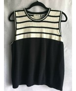 White Stag Women's Knit Tank Top Size XL Acrylic Ivory Black Striped Tra... - $9.85