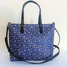 Tory Burch Small Zip Tote ~ Blue Wild Pansy Floral Print New/NWT Kerrington - $184.95