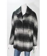 Sam Edelman Womens Wool Blend Gray & Black Plaid Coat Jacket Sz M NWT - $98.01