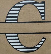 Kate Winston Brand Brown Burlap Monogram Black And White C Garden Flag image 3