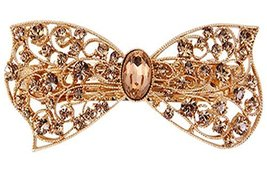 [Champagne Bowknot] Elegant Hollow Hair Barrette Rhinestones Hair Clip,1.53.2''