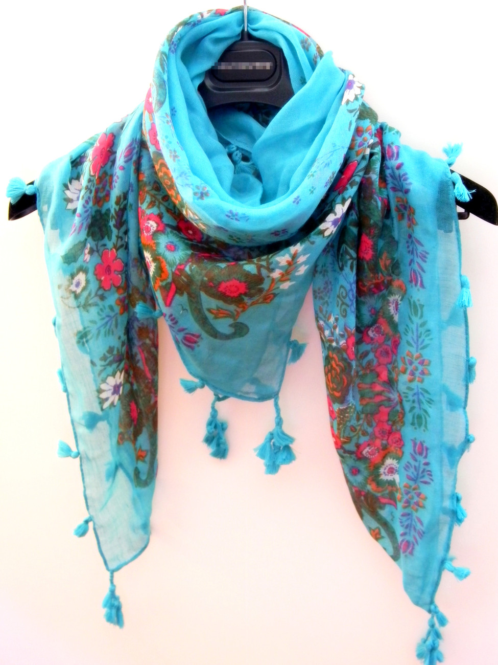 Fashion Blue Square Scarf/ Shawl Wrap Decorative With Tassels US/Canada FreeShip