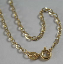 18K YELLOW WHITE GOLD CHAIN MINI 2 MM ROLO OVAL MIRROR LINK 17.70 MADE IN ITALY image 3
