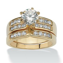 2.89 TCW Cubic Zirconia Yellow Gold Tone Bridal Ring Set - $42.82