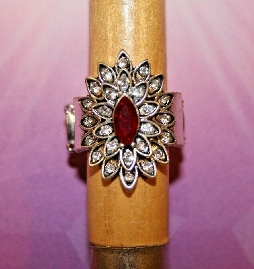 RUBY RED & CLEAR RHINESTONES ORNATE SILVER STRETCH RING PAPARAZZI JEWELRY GIFT - $7.82