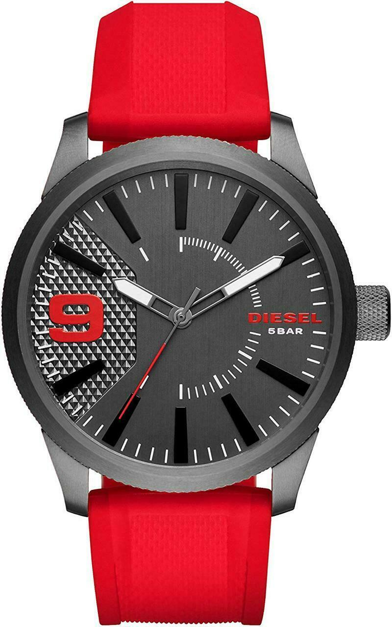 New Diesel RASP Gents Red Silicone Strap Gunmetal Dial Mens DZ1806 Watch - $95.78