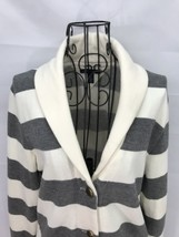 Womens Tommy Hilfiger Button Up Fleece Sweater Size S/P Long Sleeve Grey... - $24.18