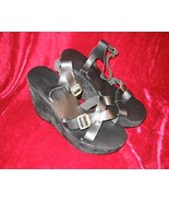 NEW Colin Stuart Black Leather Platform Shoes Sandals 9M - $24.00