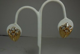 Vintage BSK Rhinestone Tulip Clip On Earrings - $10.88