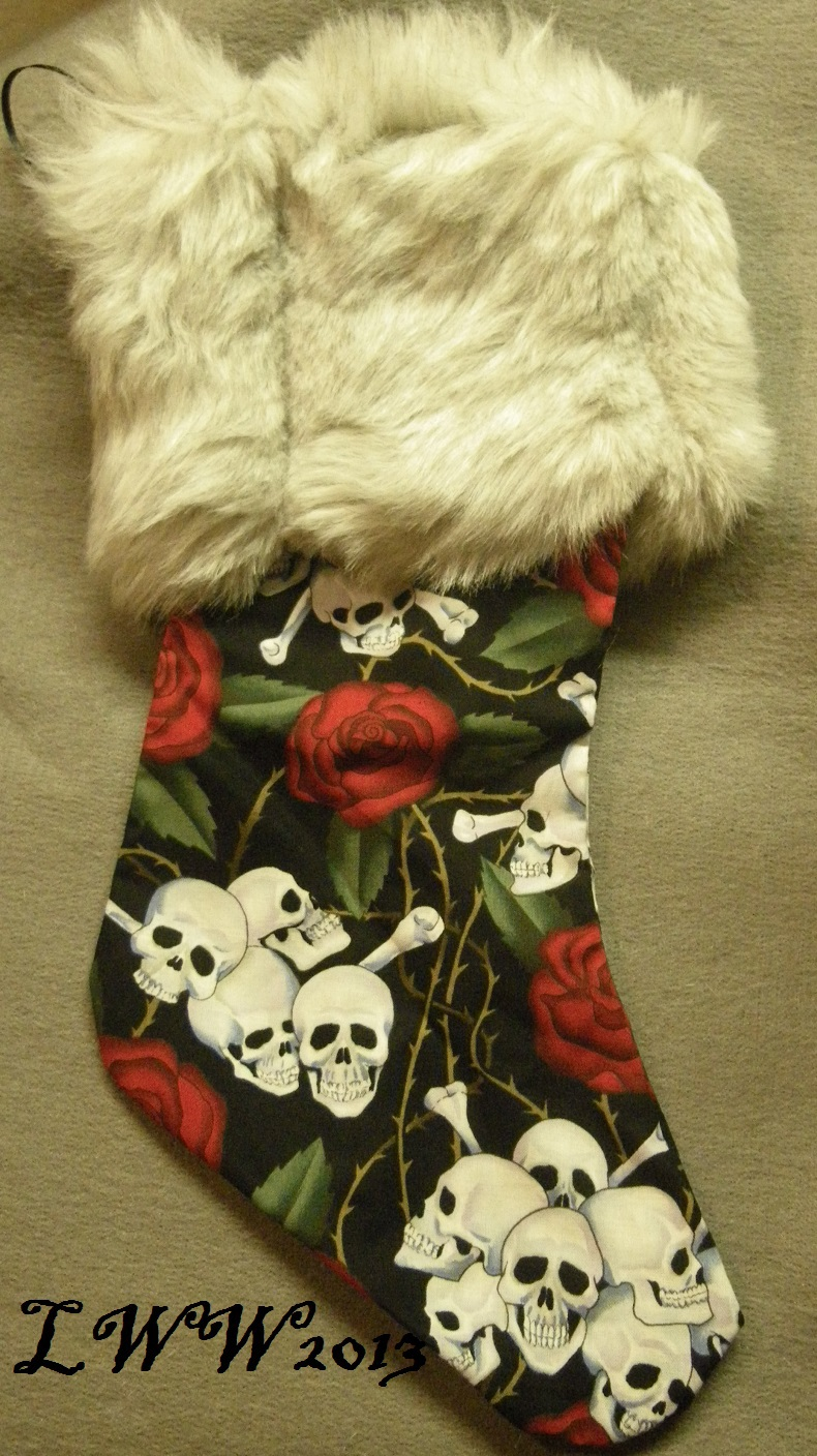 Primary image for Handmade Black Skull Crossbones Rose Faux-Fur Holiday Christmas Stocking Large