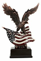 Ebros Wings of Glory Bald Eagle Clutching On American Flag Statue Bronze - $82.88