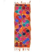 Vtg Embroidered Tapestry Runner Floral Home Decor Handmade Multi Color 1... - $34.64