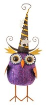 "Raz 13.75"" Purple Glittered Bobble Owl with Witches Hat Halloween Decora... - $25.04"
