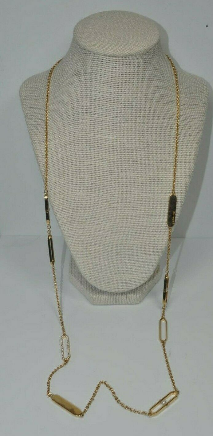 Coach Gold Tone Long Necklace Elongated Oval Stations w/ Rhinestone & Faux Pearl