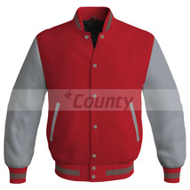 Letterman Baseball College Super Bomber Jacket Sports Red Silver Satin - $49.98+