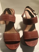 Franco Sarto Brown Strap Open Toe Cork Wedge Heel Sandals Shoes Size 9.5M - $23.36
