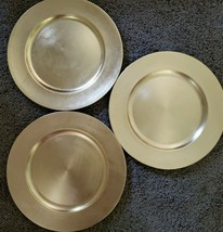 """Gibson Overseas ~ Set of 3 ~ Gold Colored ~13"""" Diameter Charger Plates ~ Acrylic - $26.93"""