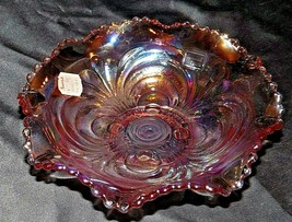 Scroll Embossed Ruffled Bowl Pink Imperial (LIG) AA20-CD0094 Vintage - $89.95