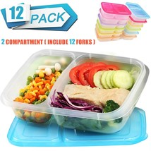 Meal Prep Food Storage Container 2 Compartment Bento Lunch Boxes Cover B... - €18,58 EUR