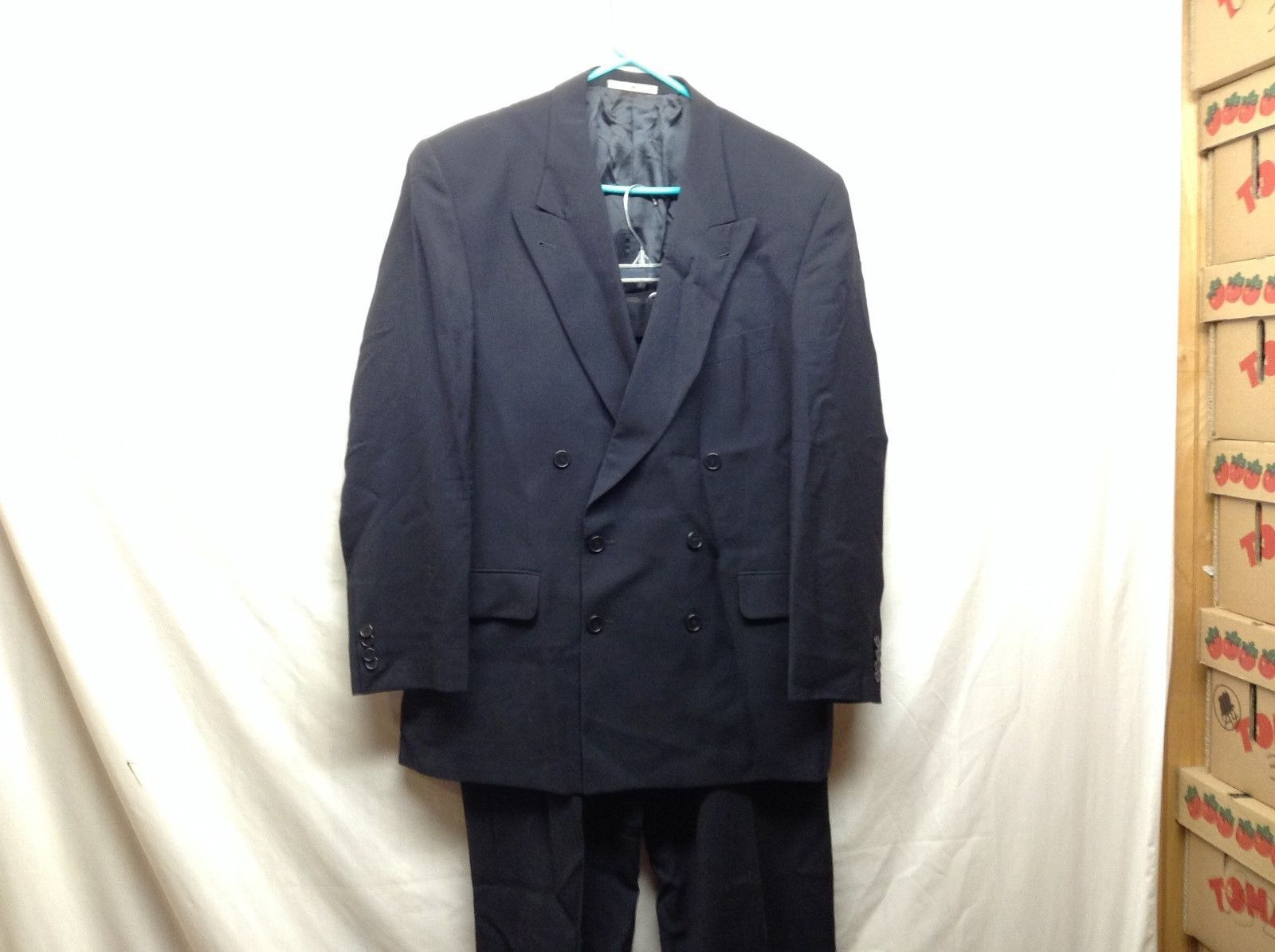 Joseph Abboud Black Wool-blend Suit Sz 42R