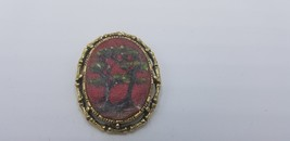 Vintage Hand Painted 1945 Trees W/ Red Background Pendant Turned Pin / B... - $19.32