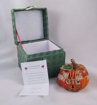 Cloisonne Harvest Pumpkin Halloween Trinket Box In A Beautiful Gift Box ... - $9.89