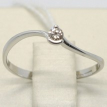 White Gold Ring 750 18k, Solitaire with Diamond Carat 0.07, Wavy, Italy image 1