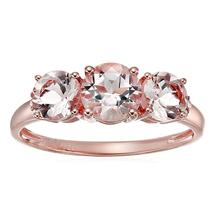 1ct Round Morganite & Diamond 14K Rose Gold Over Silver 3 Stone Anniversary Ring - $89.99