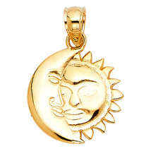 Eclipse Pendant 14k Yellow Gold Pendant -  Sun and Moon 14k Gold Pendant  - $149.56