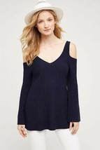 New Anthropologie Knitted Knotted Open Shoulder Pullover Sweater Small NAVY - $41.58