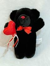 "MTY International Plush Bear Valentine's Day Red Heart Black 8"" Vintage - $14.82"